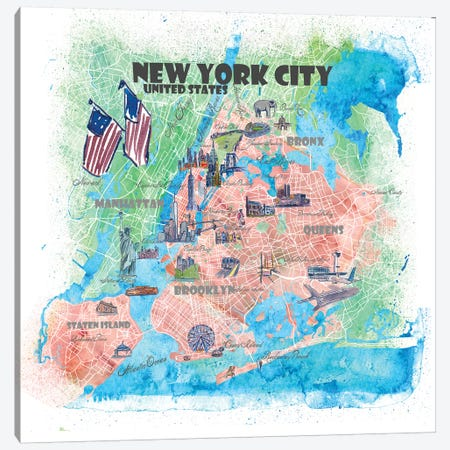 New York City USA Illustrated Map Canvas Print #MMB109} by Markus & Martina Bleichner Canvas Artwork
