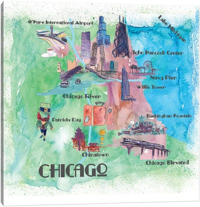 Chicago, Illinois Travel Poster Canvas Art Print
