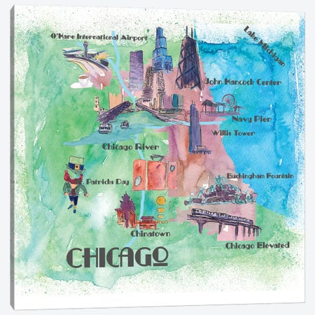 Chicago, Illinois Travel Poster Canvas Print #MMB10} by Markus & Martina Bleichner Canvas Art