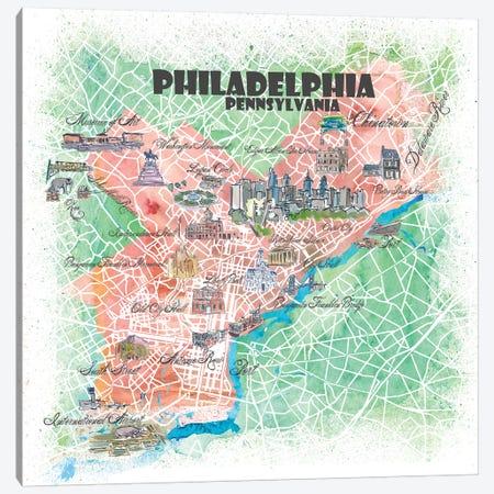 Philadelphia Pennsylvania USA Illustrated Map Canvas Print #MMB110} by Markus & Martina Bleichner Art Print