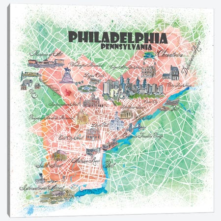 Philadelphia Pennsylvania USA Illustrated Map 3-Piece Canvas #MMB110} by Markus & Martina Bleichner Art Print