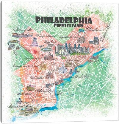Philadelphia Pennsylvania USA Illustrated Map Canvas Art Print