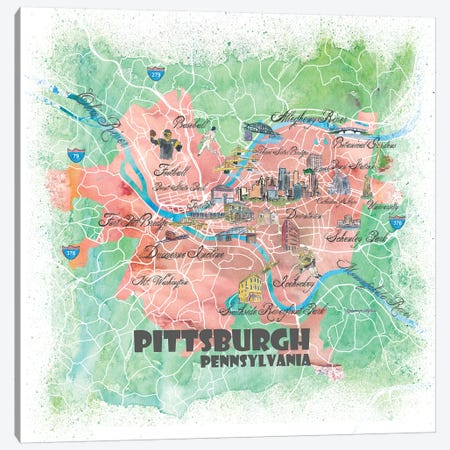 Pittsburgh Pennsylvania Illustrated Map Canvas Print #MMB111} by Markus & Martina Bleichner Canvas Print
