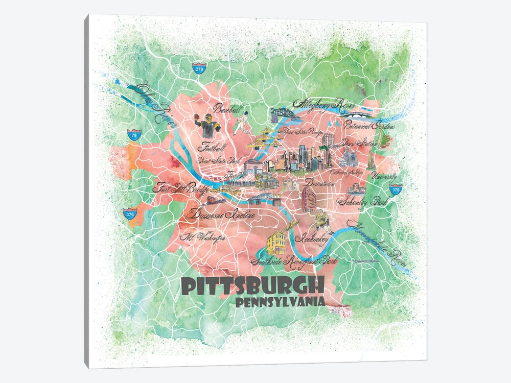 Pittsburgh Pennsylvania Illustrated Map by Markus & Martina Bleichner 1-piece Canvas Art