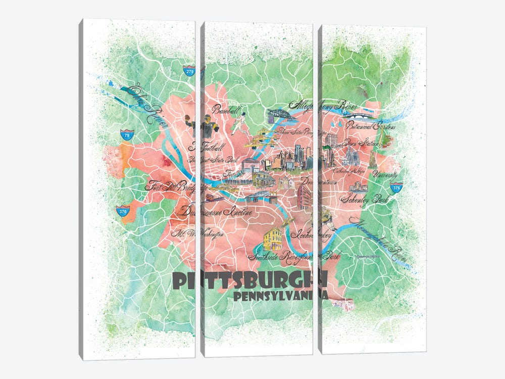 Pittsburgh Pennsylvania Illustrated Map by Markus & Martina Bleichner 3-piece Canvas Artwork
