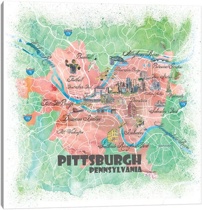 Pittsburgh Pennsylvania Illustrated Map Canvas Art Print