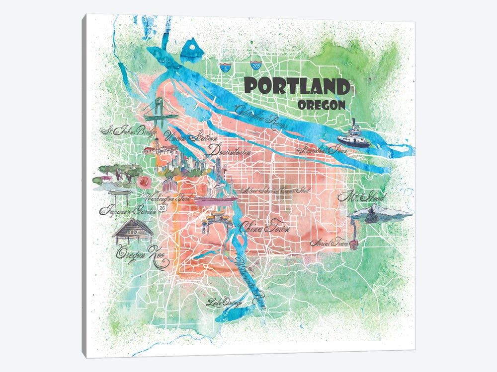 Portland Oregon USA Illustrated Map by Markus & Martina Bleichner 1-piece Canvas Art Print