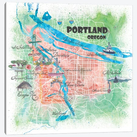 Portland Oregon USA Illustrated Map Canvas Print #MMB112} by Markus & Martina Bleichner Canvas Art Print