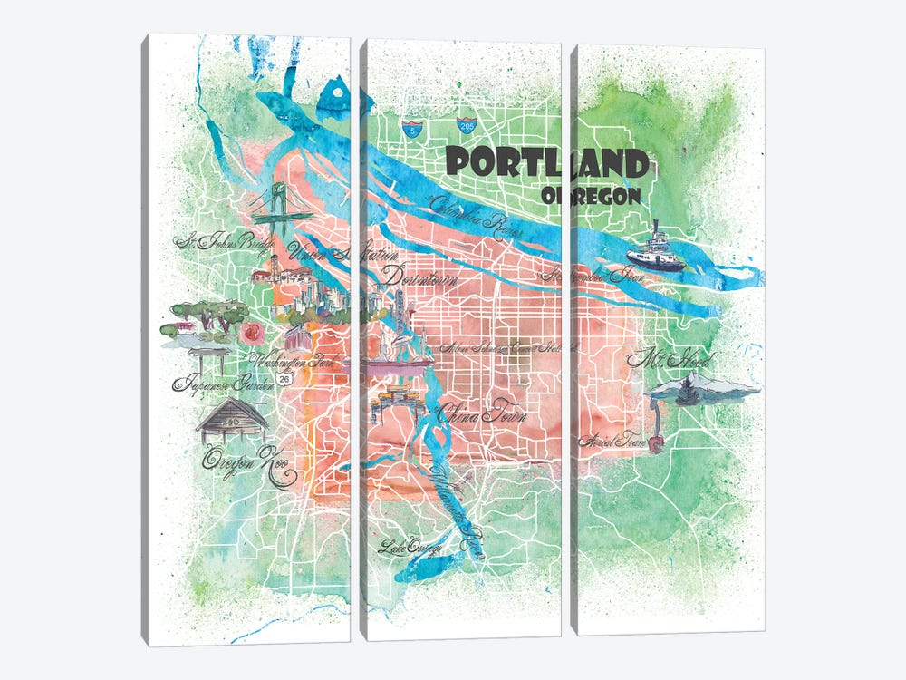 Portland Oregon USA Illustrated Map 3-piece Canvas Art Print