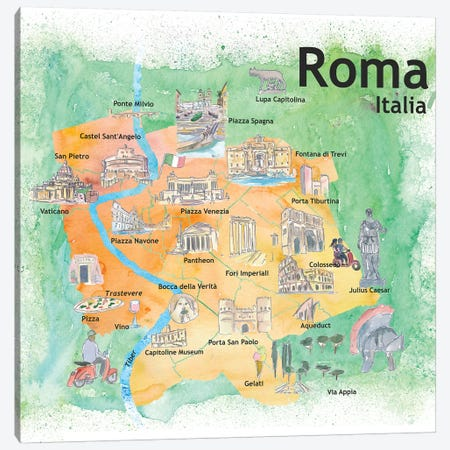 Rome Italy Illustrated Travel Poster Canvas Print #MMB113} by Markus & Martina Bleichner Canvas Print