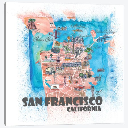 San Francisco USA Illustrated Map Canvas Print #MMB114} by Markus & Martina Bleichner Canvas Wall Art