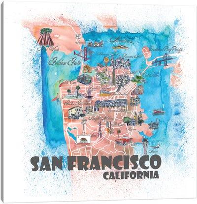 San Francisco USA Illustrated Map Canvas Art Print