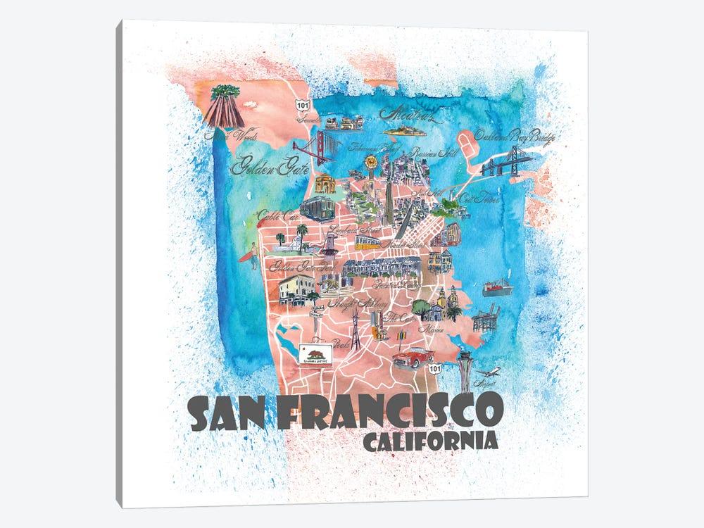 San Francisco USA Illustrated Map by Markus & Martina Bleichner 1-piece Canvas Art Print