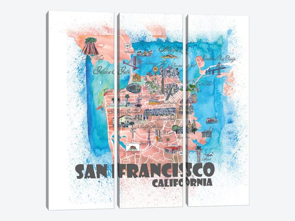 San Francisco USA Illustrated Map by Markus & Martina Bleichner 3-piece Canvas Art Print
