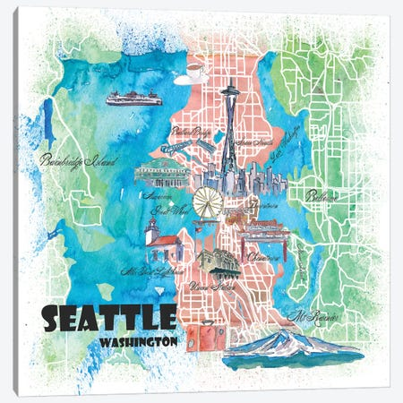 Seattle Washington Illustrated Map Canvas Print #MMB115} by Markus & Martina Bleichner Canvas Art