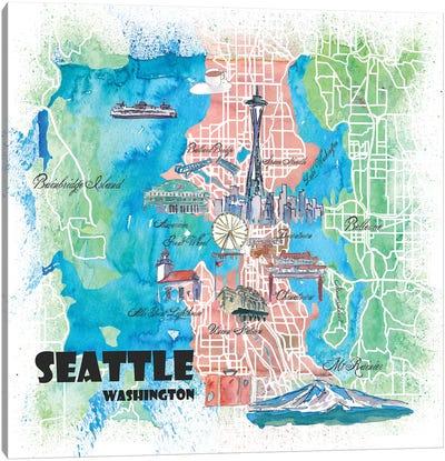 Seattle Washington Illustrated Map Canvas Art Print