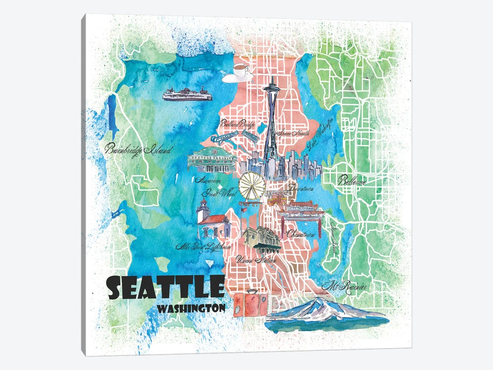 Seattle Washington Illustrated Map by Markus & Martina Bleichner 1-piece Canvas Art
