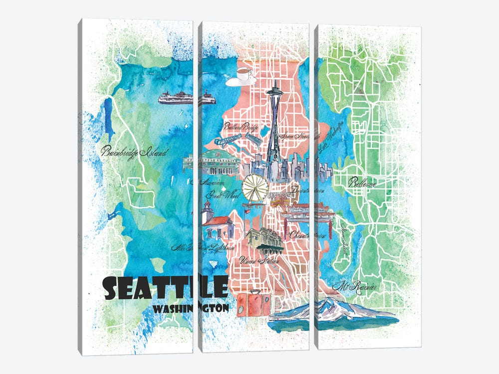 Seattle Washington Illustrated Map by Markus & Martina Bleichner 3-piece Canvas Artwork