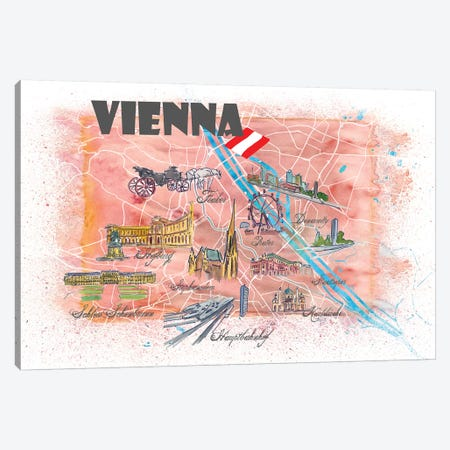 Vienna Austria Illustrated Map Canvas Print #MMB116} by Markus & Martina Bleichner Canvas Art