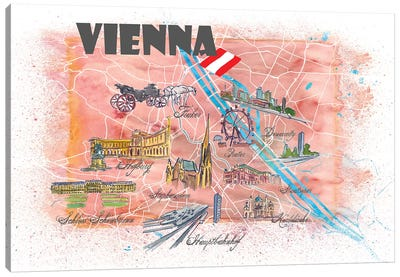 Vienna Austria Illustrated Map Canvas Art Print