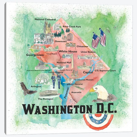 Washington DC USA Illustrated Travel Poster Canvas Print #MMB117} by Markus & Martina Bleichner Canvas Art