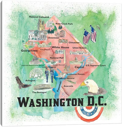 Washington DC USA Illustrated Travel Poster Canvas Art Print