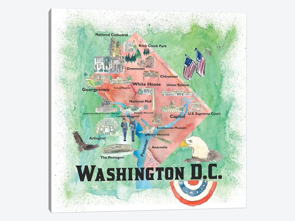 Washington DC USA Illustrated Travel Poster 1-piece Canvas Art