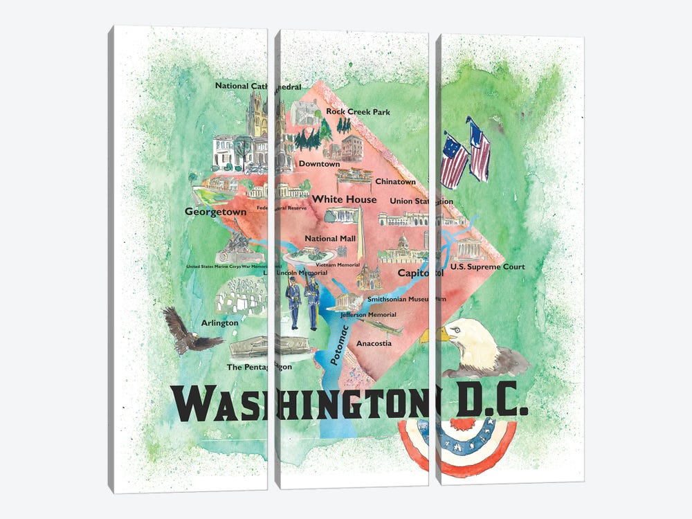 Washington DC USA Illustrated Travel Poster 3-piece Canvas Artwork