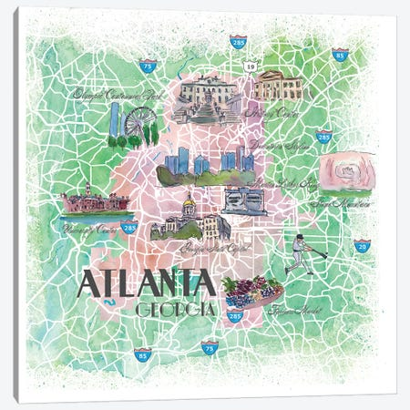 Atlanta Georgia USA Illustrated Map Canvas Print #MMB118} by Markus & Martina Bleichner Canvas Art Print
