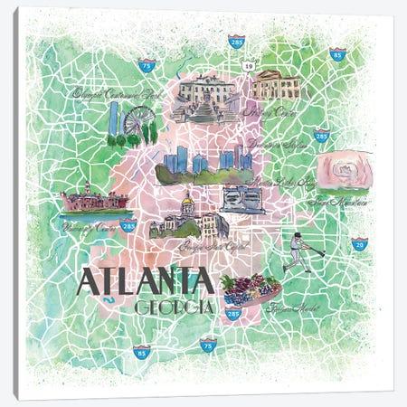 Atlanta Georgia USA Illustrated Map Canvas Print #MMB118} by Markus & Martina Bleichner Canvas Art Print