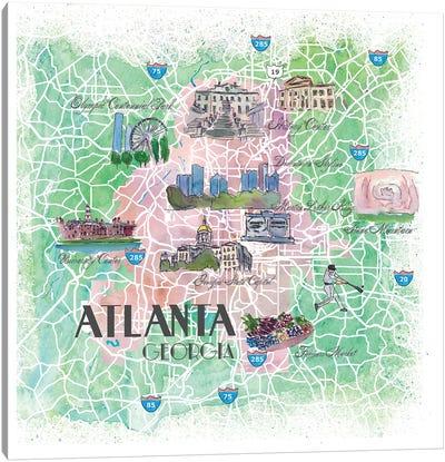 Atlanta Georgia USA Illustrated Map Canvas Art Print