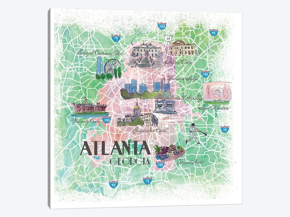 Atlanta Georgia USA Illustrated Map by Markus & Martina Bleichner 1-piece Canvas Art Print