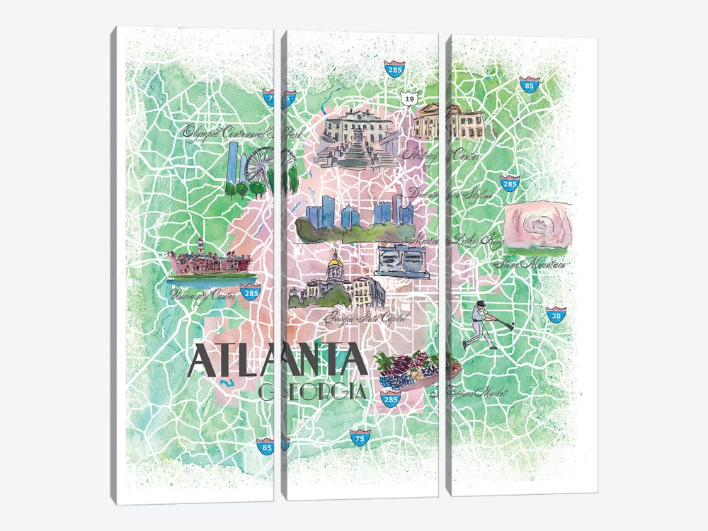 Atlanta Georgia USA Illustrated Map by Markus & Martina Bleichner 3-piece Canvas Art Print