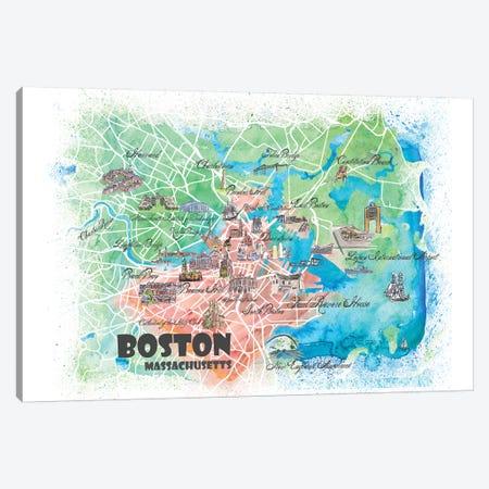 Boston Massachusetts USA Illustrated Map Canvas Print #MMB119} by Markus & Martina Bleichner Canvas Print