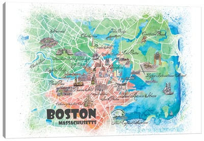 Boston Massachusetts USA Illustrated Map Canvas Art Print