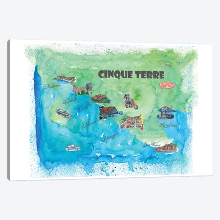 Cinque Terre, Italy Travel Poster Canvas Print #MMB11} by Markus & Martina Bleichner Canvas Artwork