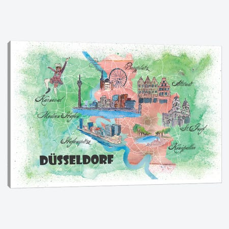 Dusseldorf Germany Illustrated Mapab Canvas Print #MMB120} by Markus & Martina Bleichner Canvas Artwork