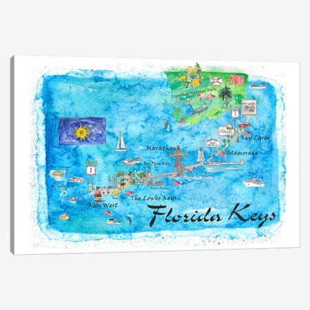 Florida Keys Key West Marathon Key Largo Illustrated Travel Poster Canvas Print #MMB121} by Markus & Martina Bleichner Canvas Art