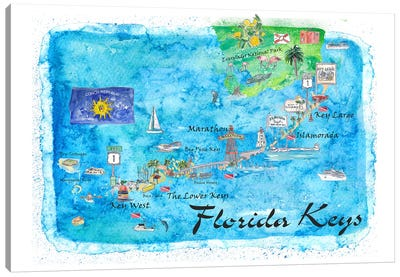 Florida Keys Key West Marathon Key Largo Illustrated Travel Poster Canvas Art Print