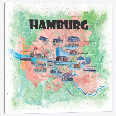 Hamburg Germany Illustrated Map Canvas Print #MMB122} by Markus & Martina Bleichner Canvas Artwork