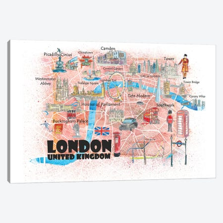 London UK Illustrated Map Canvas Print #MMB124} by Markus & Martina Bleichner Canvas Print