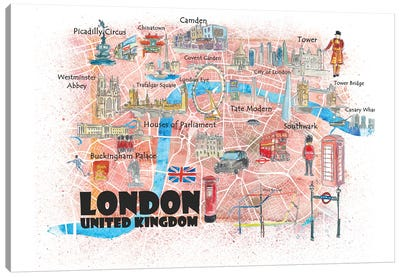 London UK Illustrated Map Canvas Art Print