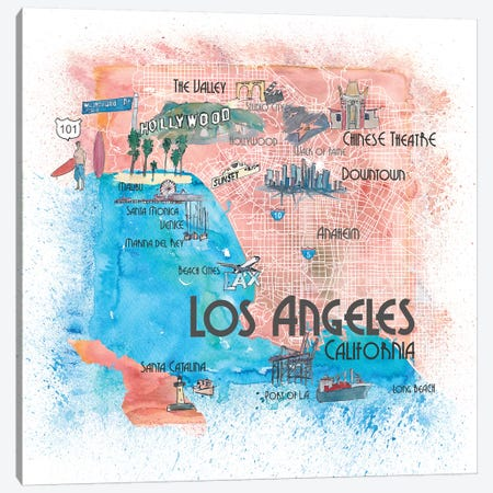 Los Angeles USA Illustrated Map Canvas Print #MMB125} by Markus & Martina Bleichner Art Print