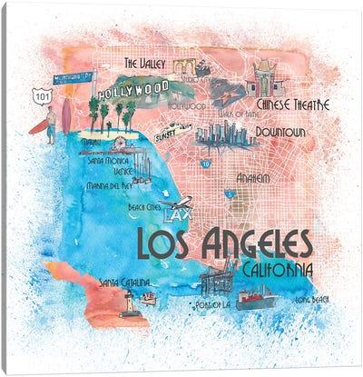 Los Angeles USA Illustrated Map Canvas Art Print