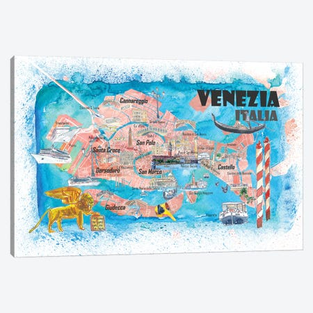 Venice Italy Illustrated Map With Main Canals Landmarks And Highlights Canvas Print #MMB126} by Markus & Martina Bleichner Art Print