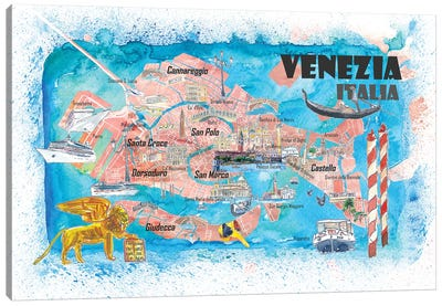 Venice Italy Illustrated Map With Main Canals Landmarks And Highlights Canvas Art Print