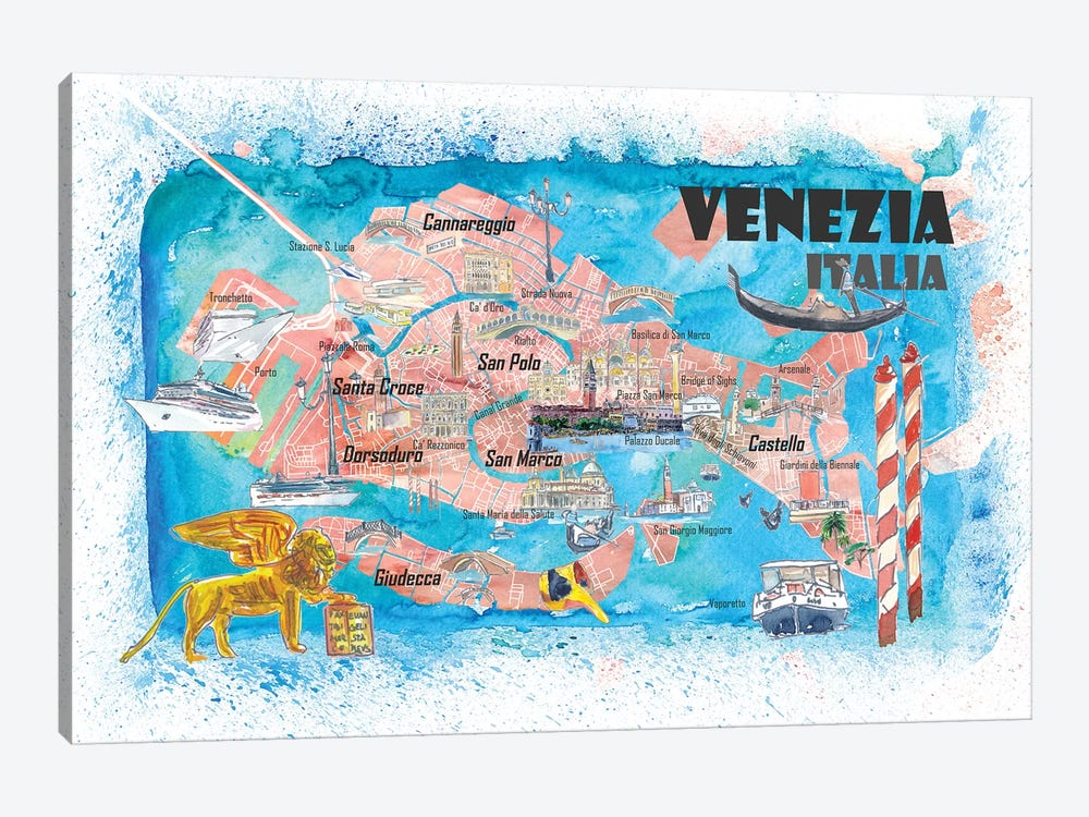 Venice Italy Illustrated Map With Main Canals Landmarks And Highlights by Markus & Martina Bleichner 1-piece Canvas Wall Art