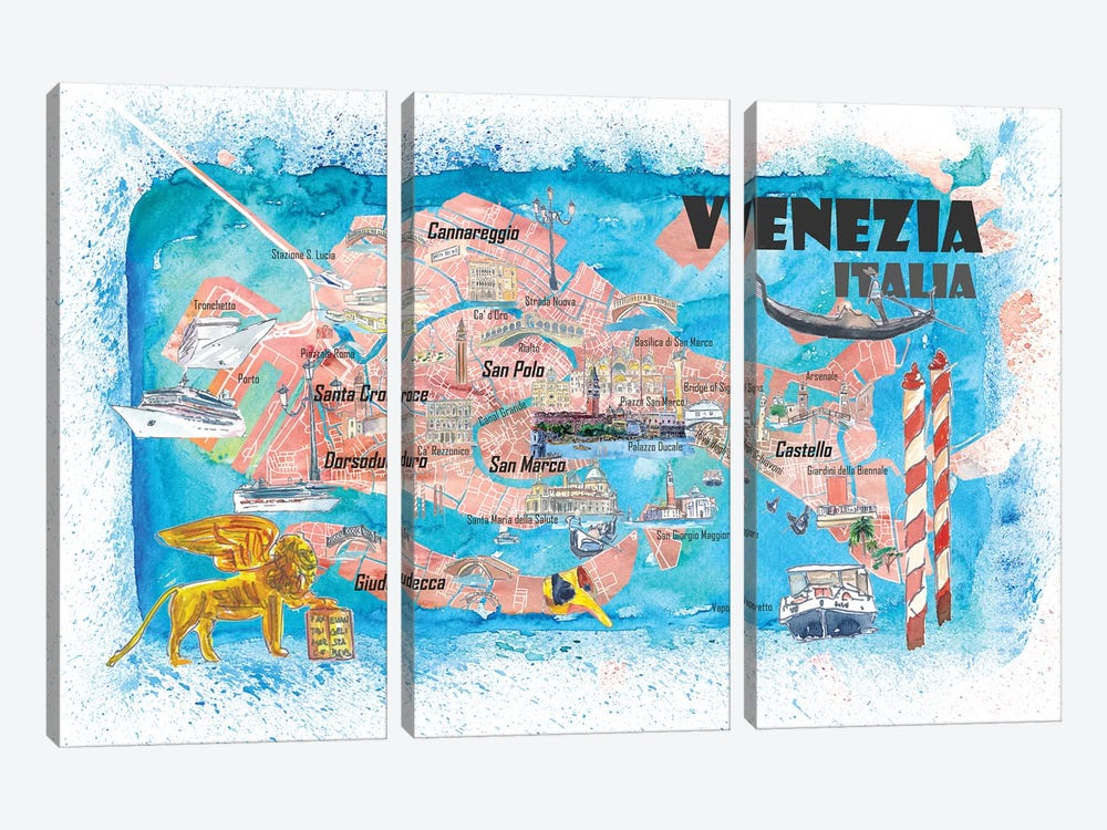 Venice Italy Illustrated Map With Main Canals Landmarks And Highlights by Markus & Martina Bleichner 3-piece Canvas Artwork