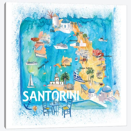 Santorini Greece Illustrated Map With Main Roads Landmarks And Highlights Canvas Print #MMB127} by Markus & Martina Bleichner Canvas Art Print