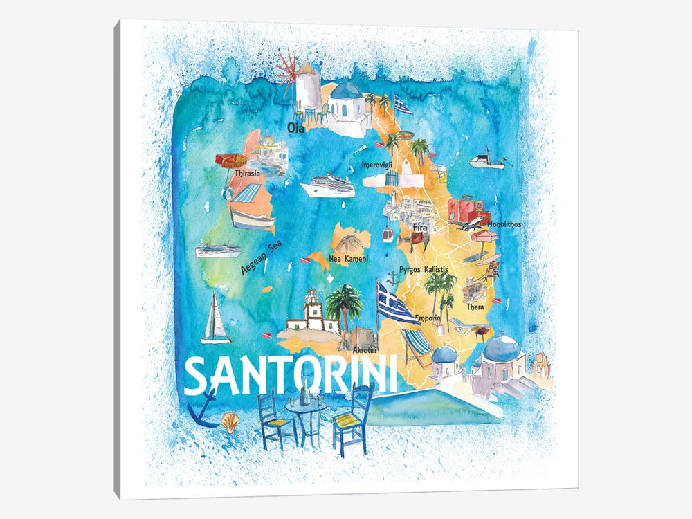 Santorini Greece Illustrated Map Markus Martina Bleichner Icanvas